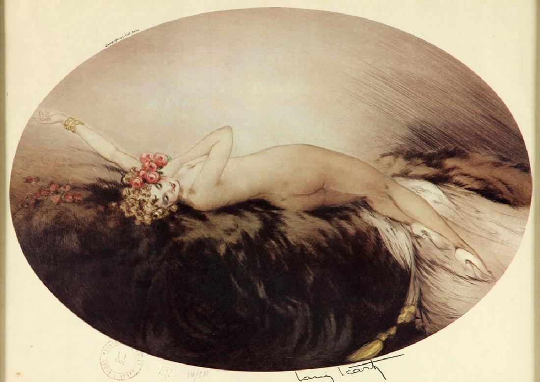 Louis Icart, Woman Reclining in Furs, Print - 2