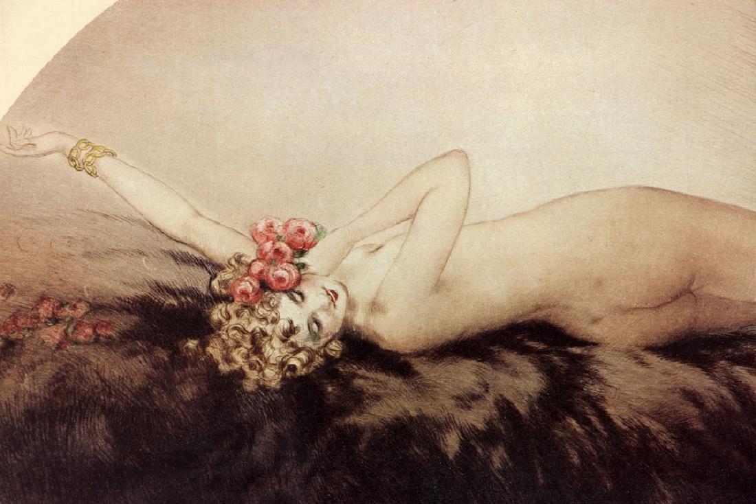 Louis Icart, Woman Reclining in Furs, Print - 3