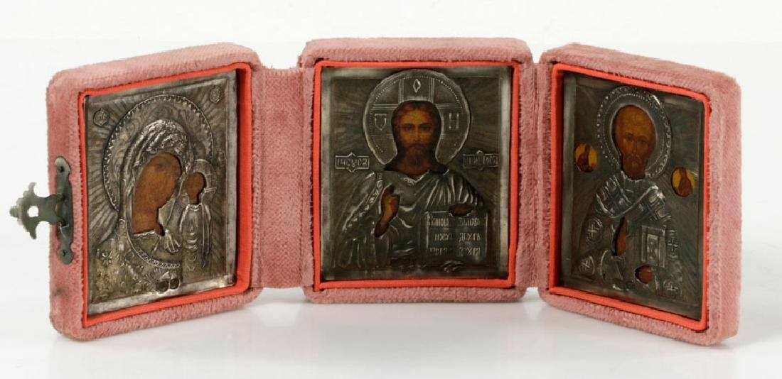 19th/20th C. Russian 84 Silver Icon Triptych