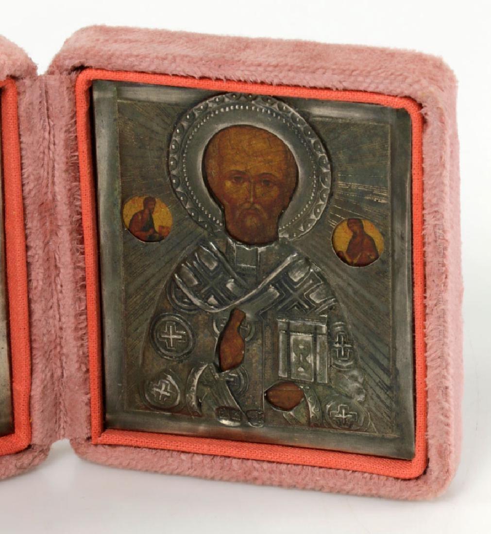 19th/20th C. Russian 84 Silver Icon Triptych - 4