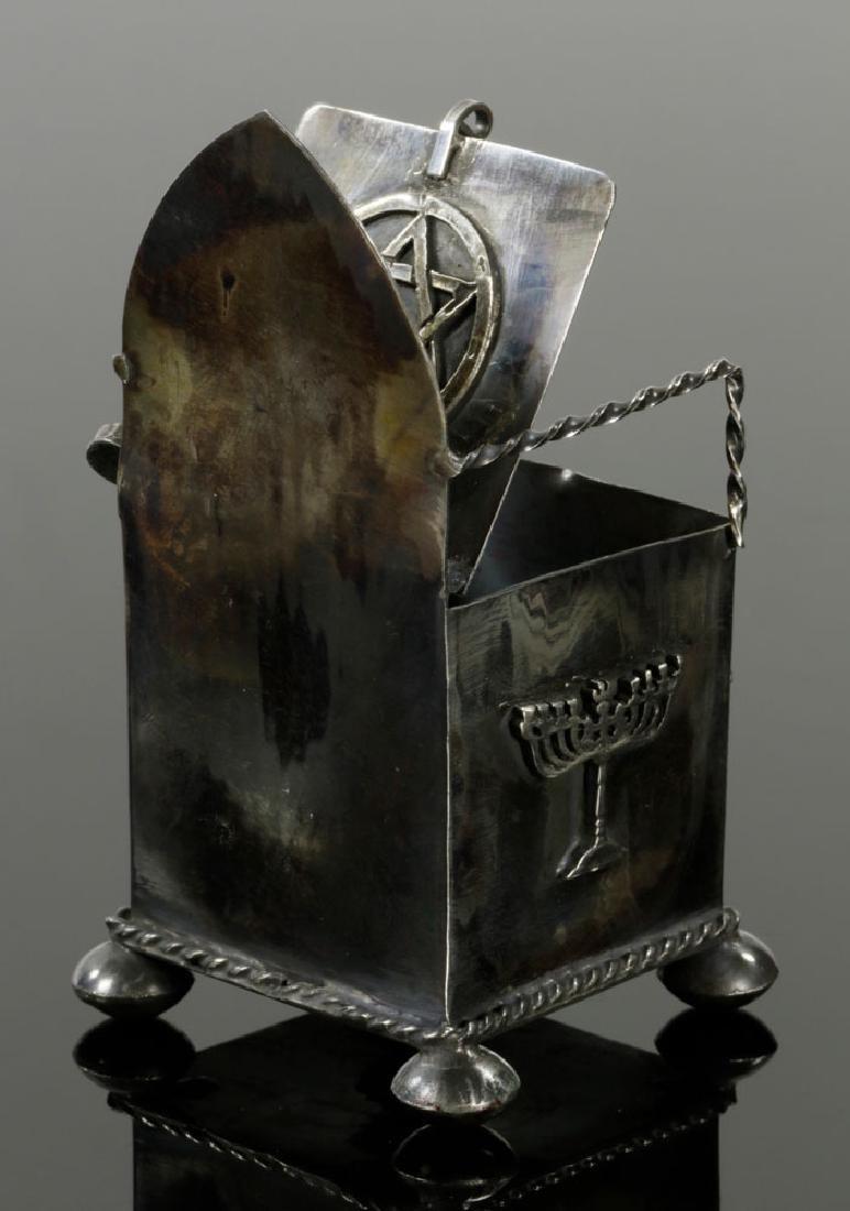Russian Judaica 84 Silver Salt Cellar and Spoon - 3