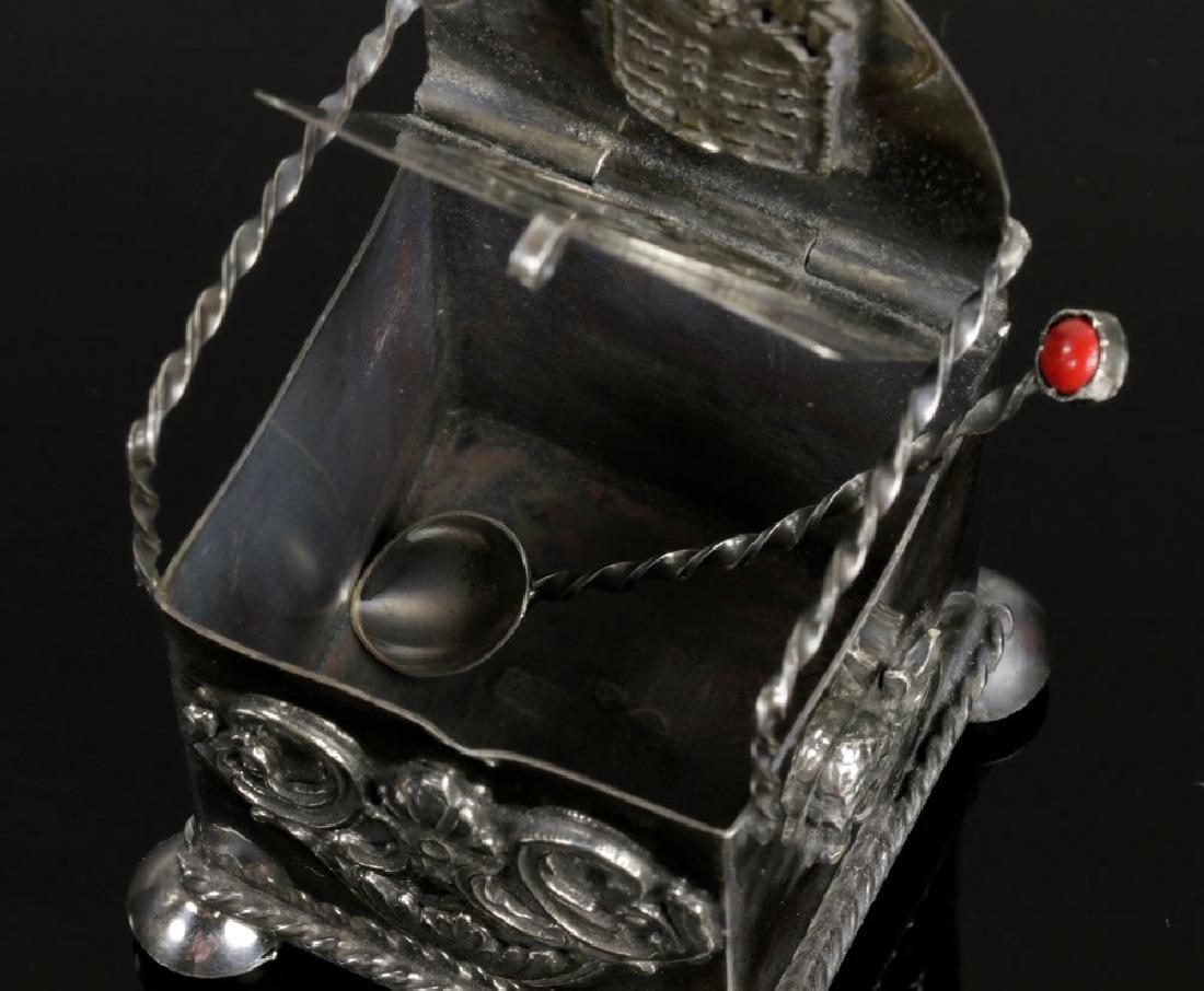 Russian Judaica 84 Silver Salt Cellar and Spoon - 4