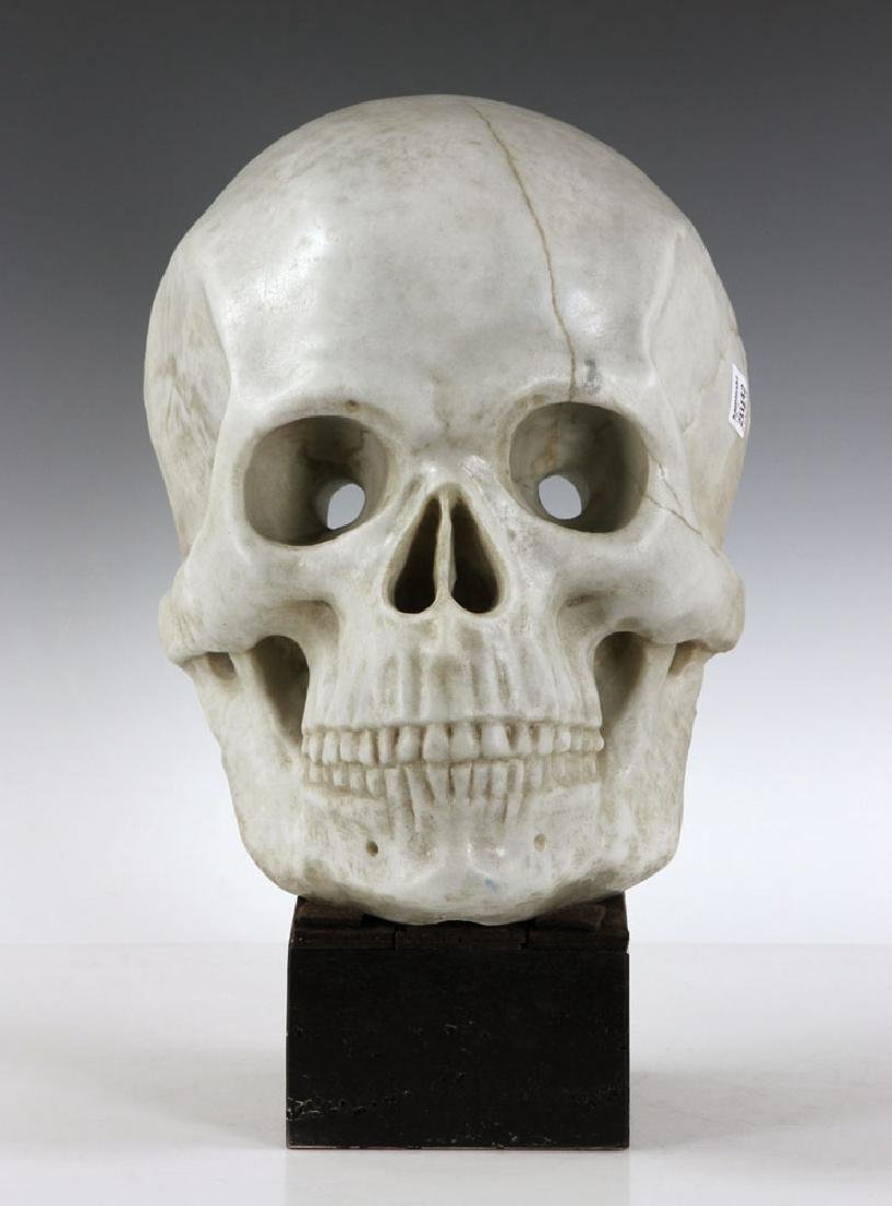 "19th C. Carved Italian Marble Skull ""Mask"""