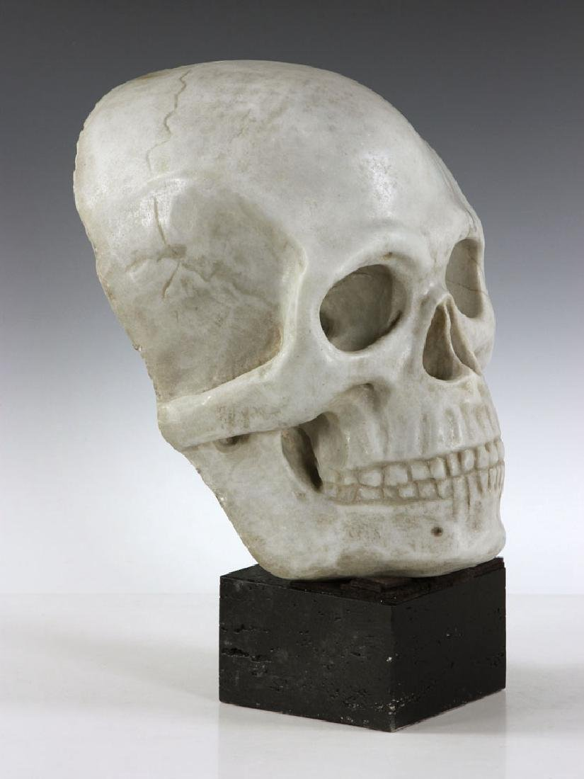 "19th C. Carved Italian Marble Skull ""Mask"" - 2"