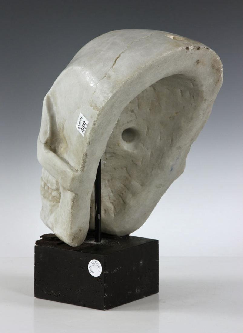 "19th C. Carved Italian Marble Skull ""Mask"" - 4"