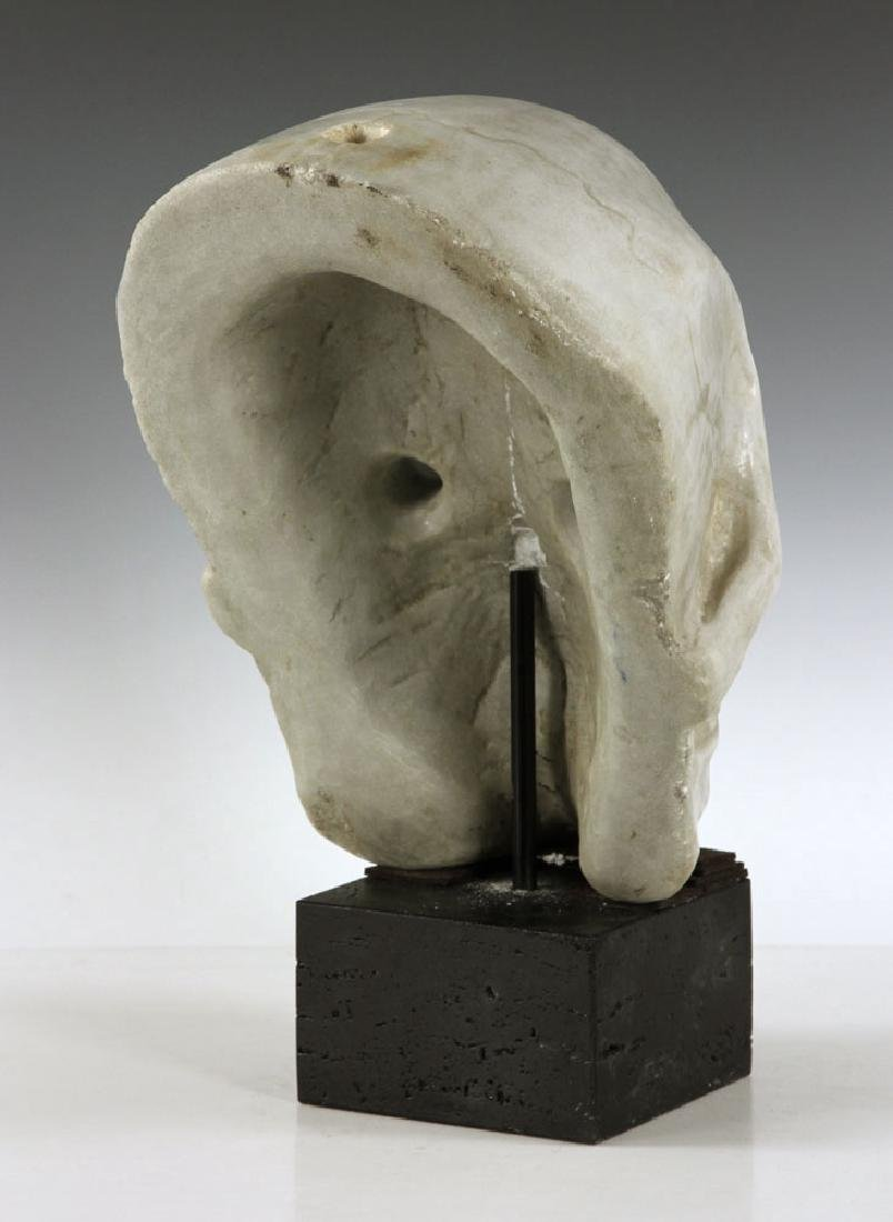 "19th C. Carved Italian Marble Skull ""Mask"" - 5"