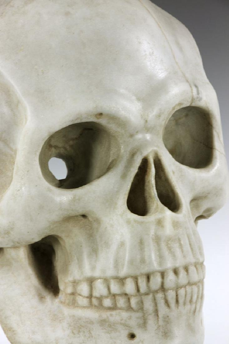 "19th C. Carved Italian Marble Skull ""Mask"" - 6"