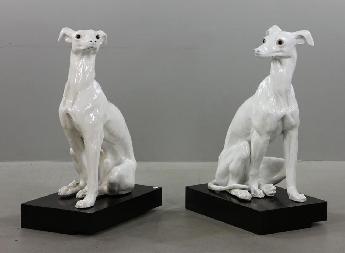 Pr. Italian Monumental Terracotta Greyhound Statues