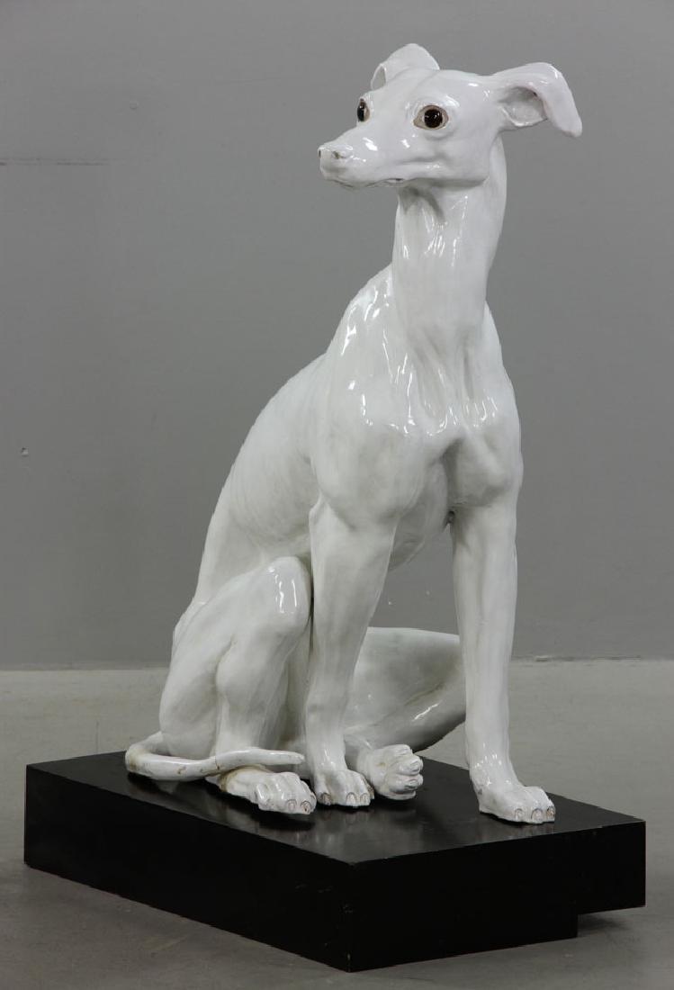 Pr. Italian Monumental Terracotta Greyhound Statues - 2