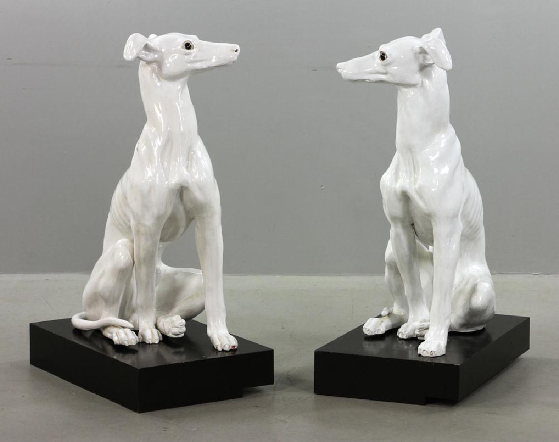 Pr. Italian Monumental Terracotta Greyhound Statues - 4