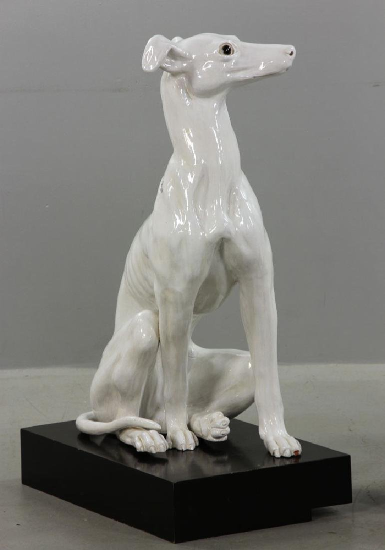 Pr. Italian Monumental Terracotta Greyhound Statues - 5