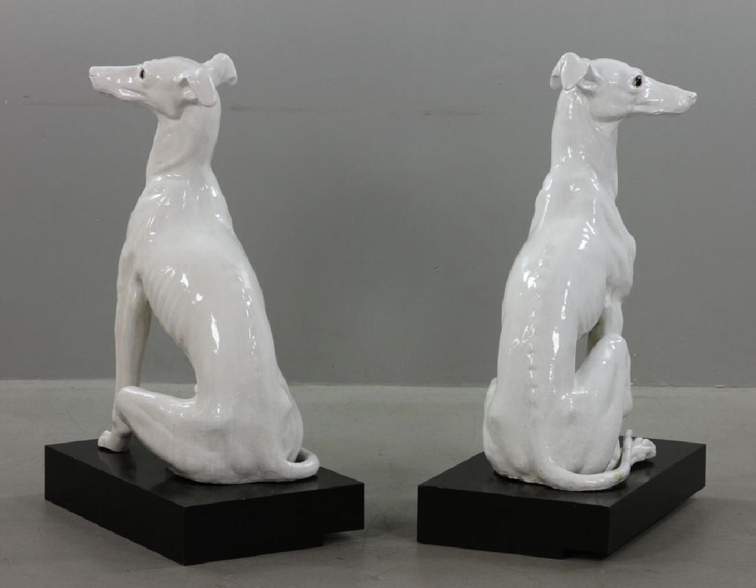 Pr. Italian Monumental Terracotta Greyhound Statues - 7
