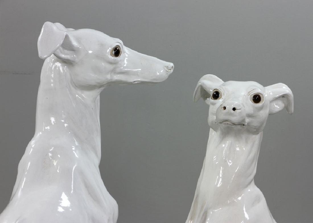 Pr. Italian Monumental Terracotta Greyhound Statues - 8