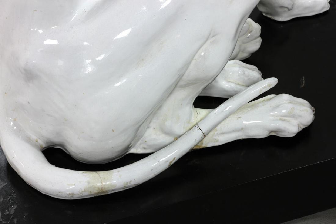Pr. Italian Monumental Terracotta Greyhound Statues - 9