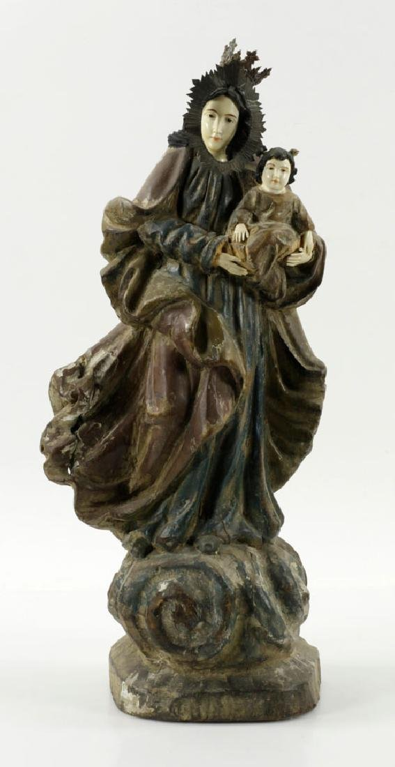 18th/19th C. Spanish Colonial Madonna & Child