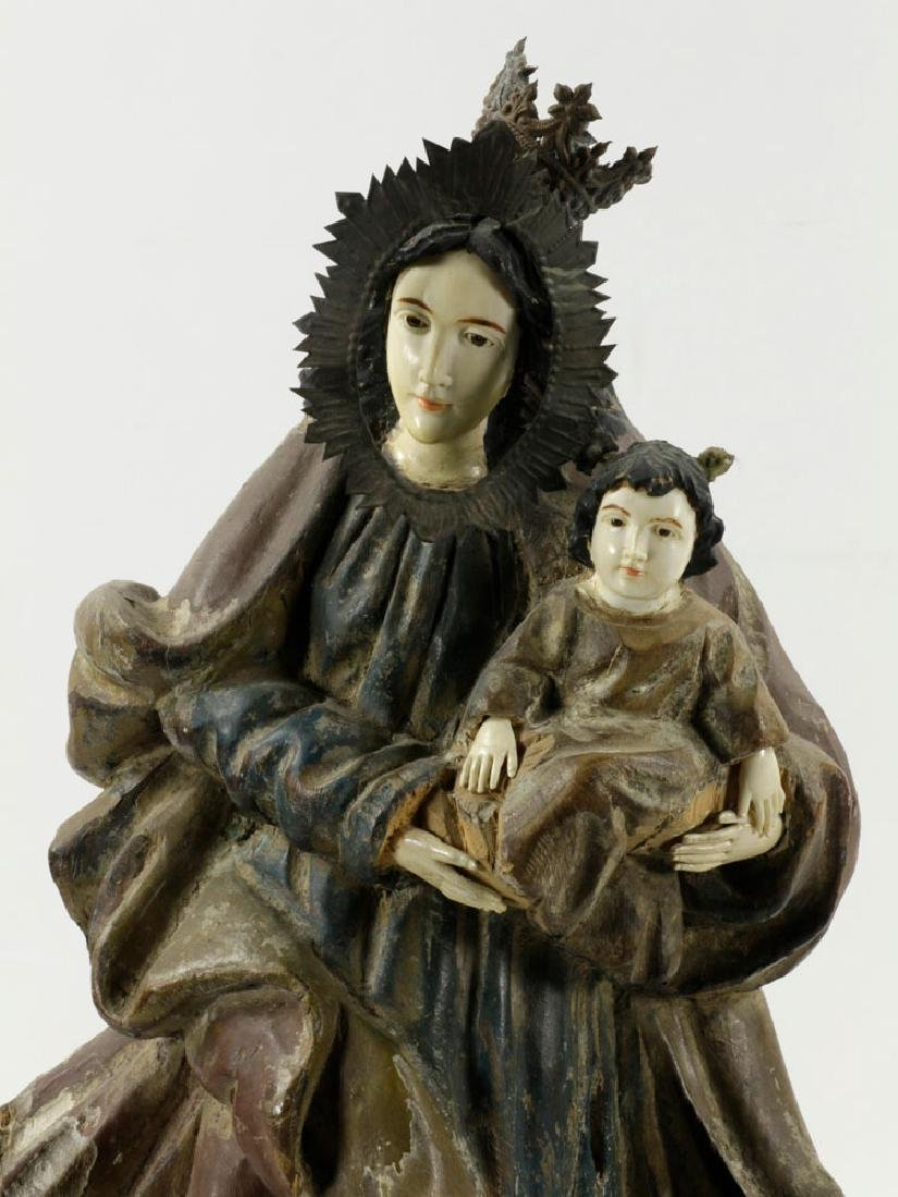 18th/19th C. Spanish Colonial Madonna & Child - 5