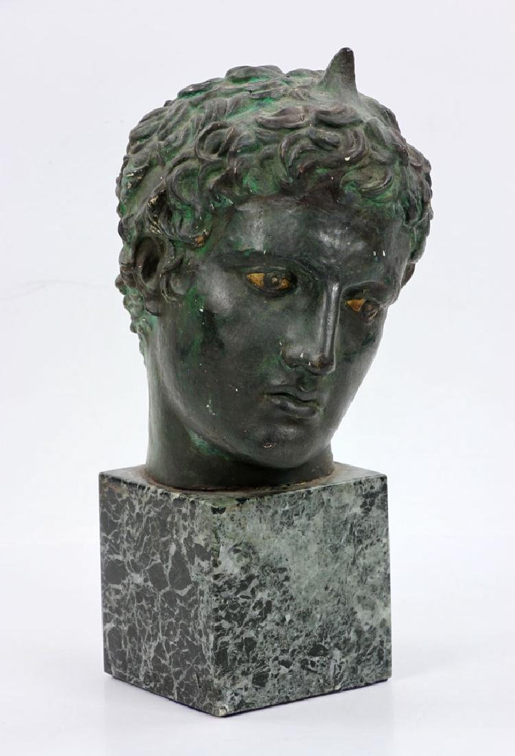 Classical Greek Painted Bust on Marble