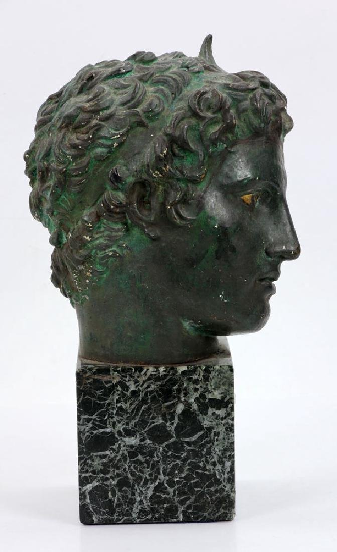 Classical Greek Painted Bust on Marble - 4