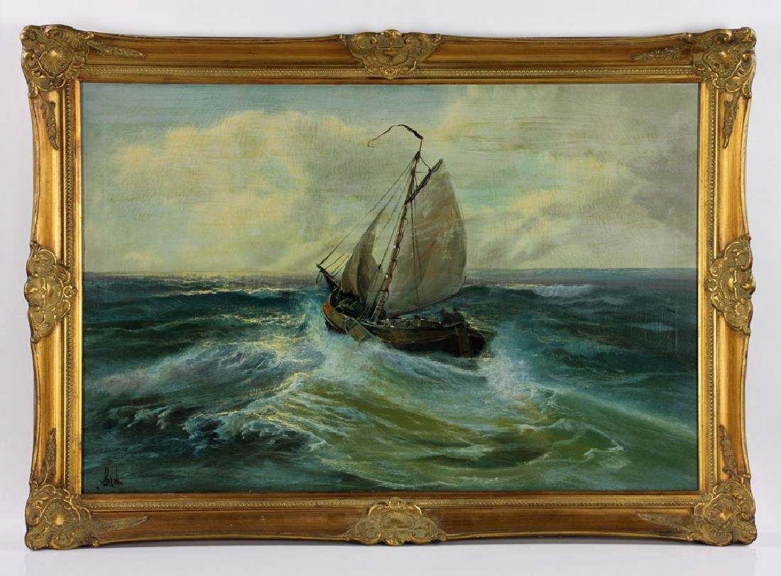 Ship at Sea, Oil on Canvas