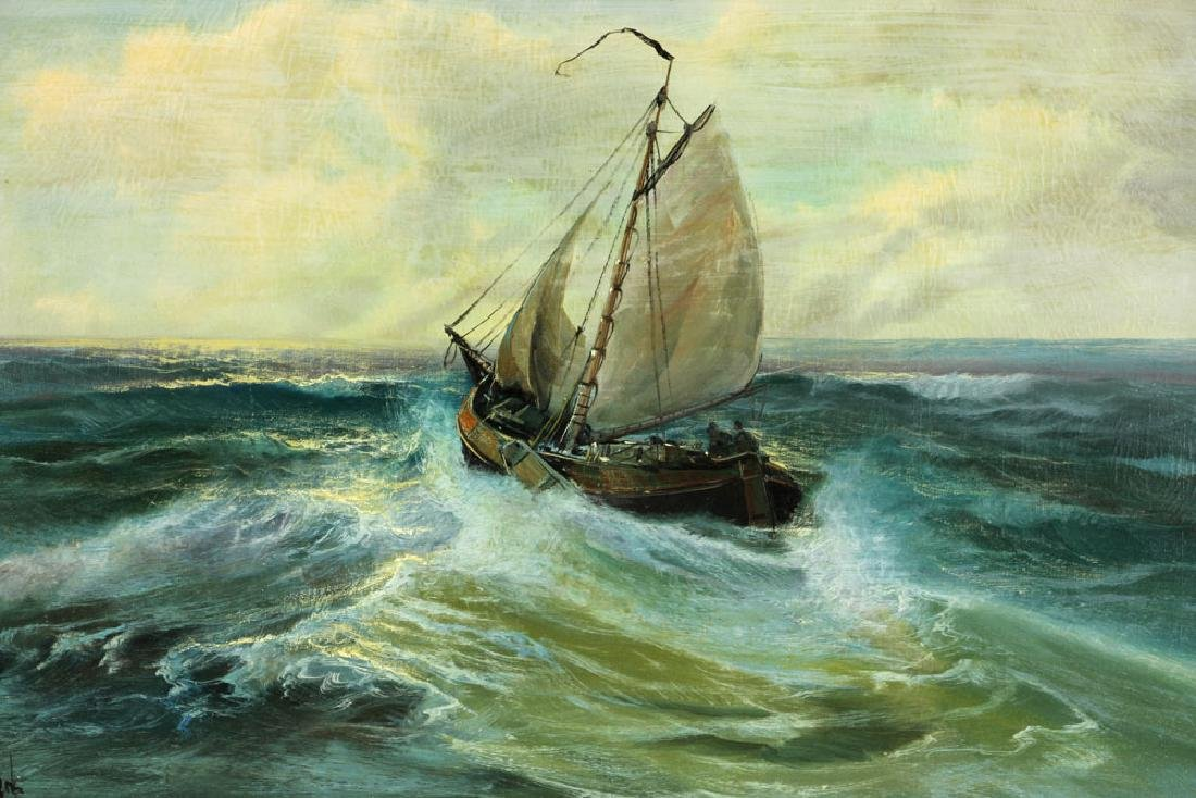 Ship at Sea, Oil on Canvas - 2