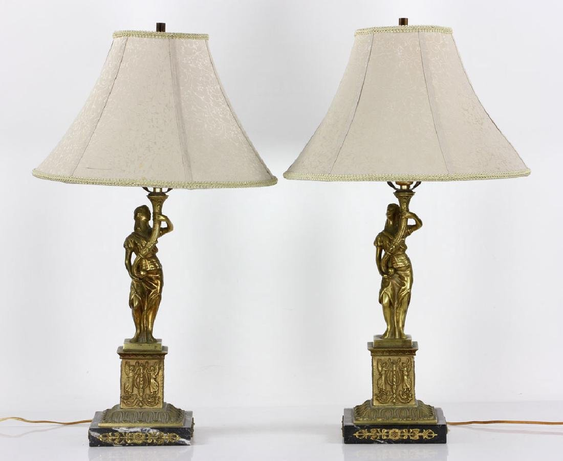 Pair Figural Brass Lamps