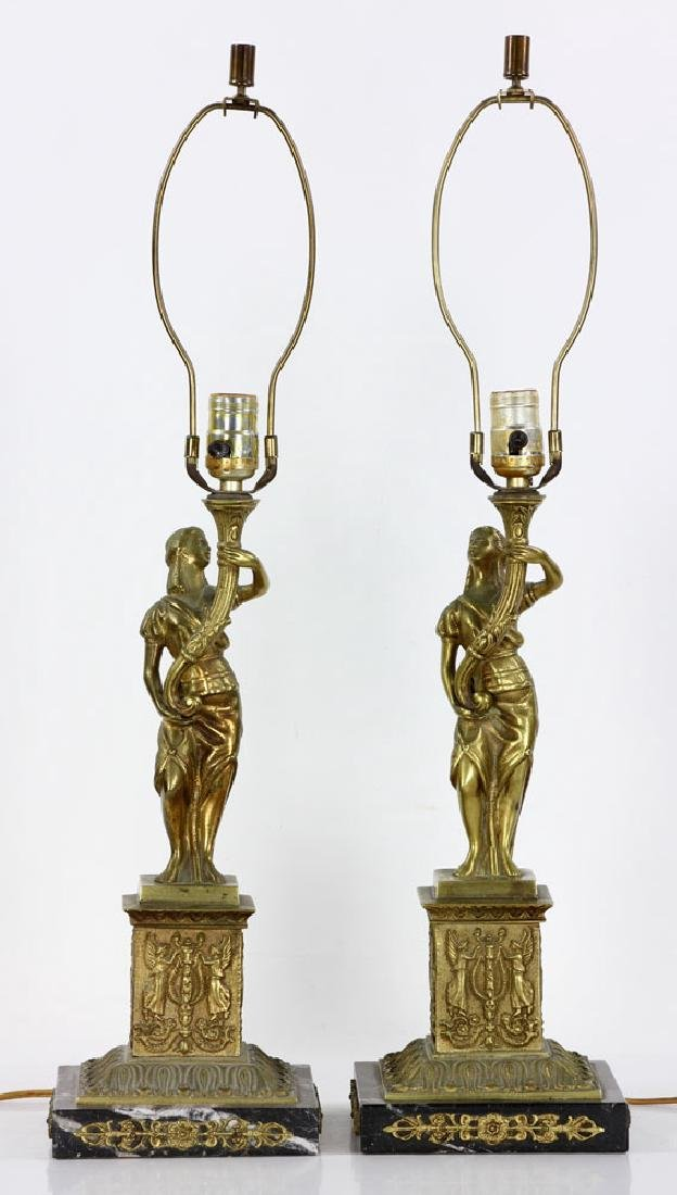 Pair Figural Brass Lamps - 2