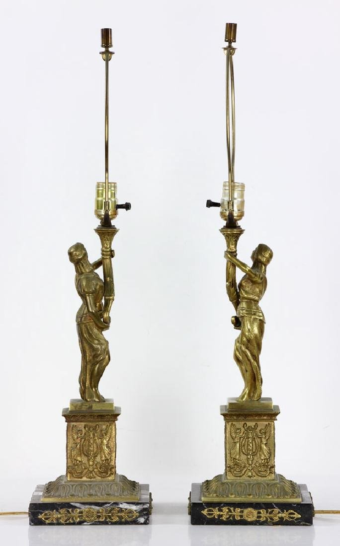 Pair Figural Brass Lamps - 3