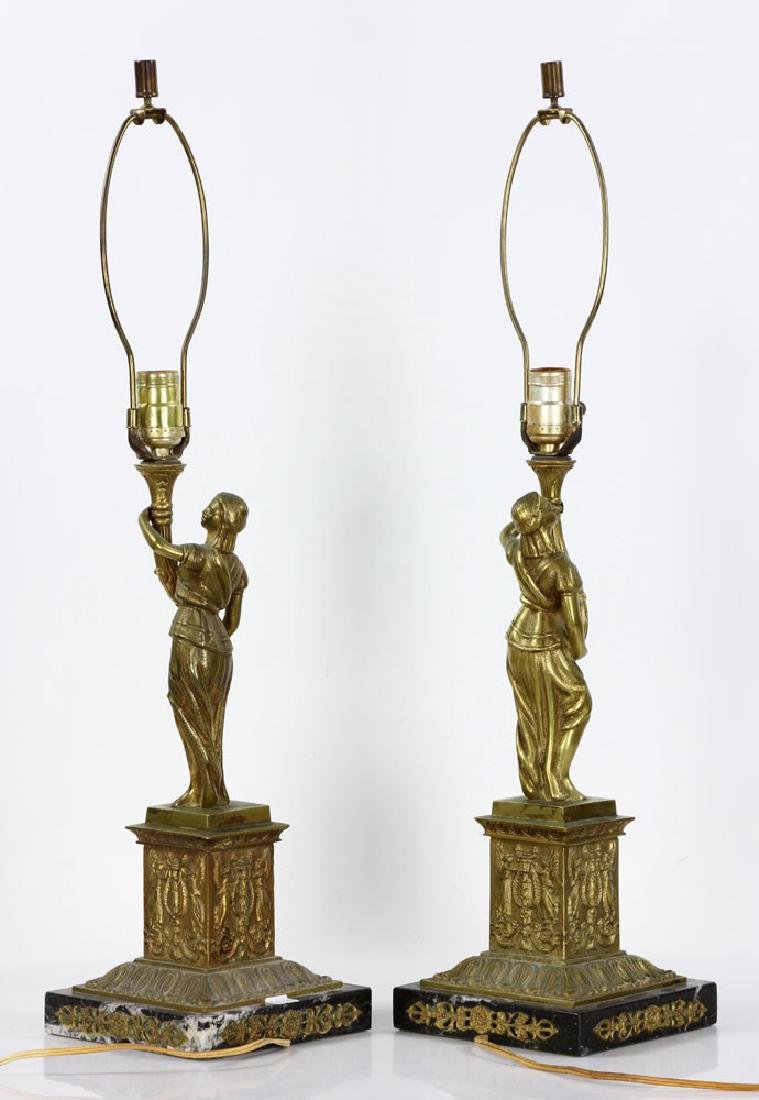 Pair Figural Brass Lamps - 4