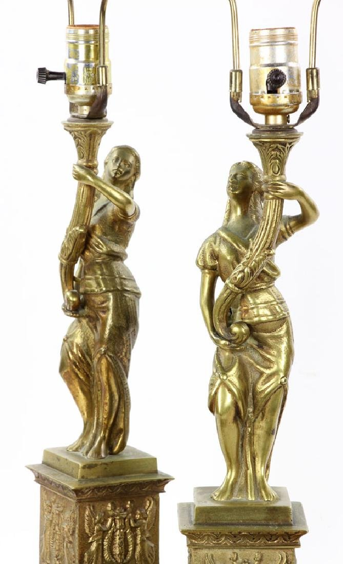 Pair Figural Brass Lamps - 5