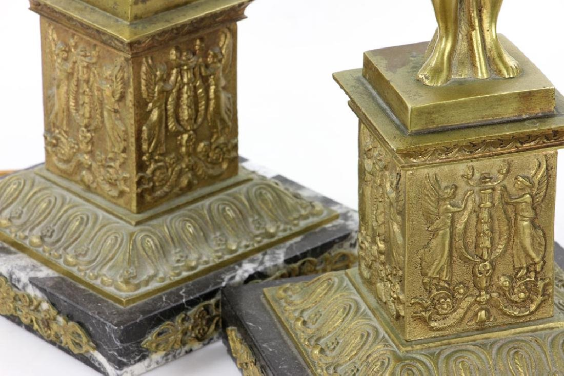 Pair Figural Brass Lamps - 6