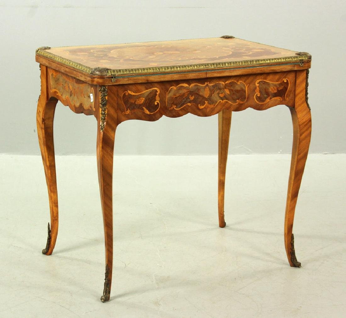 Louis XVI Style Inlaid Card Table