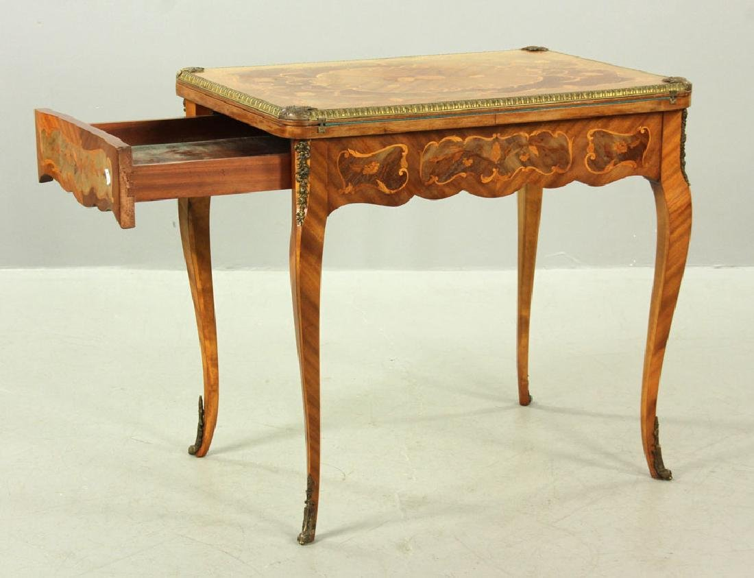 Louis XVI Style Inlaid Card Table - 2