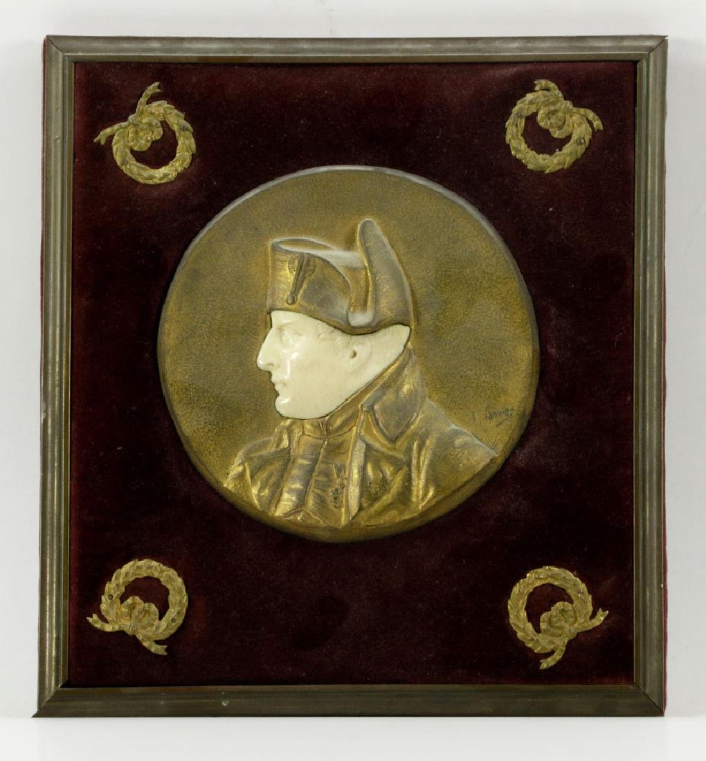 19th C. French Bronze and Bone Plaque