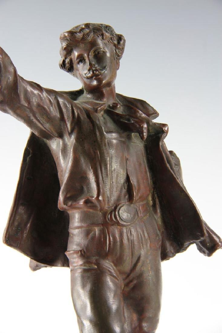 Bronze Statue of Man Wearing Hat - 4