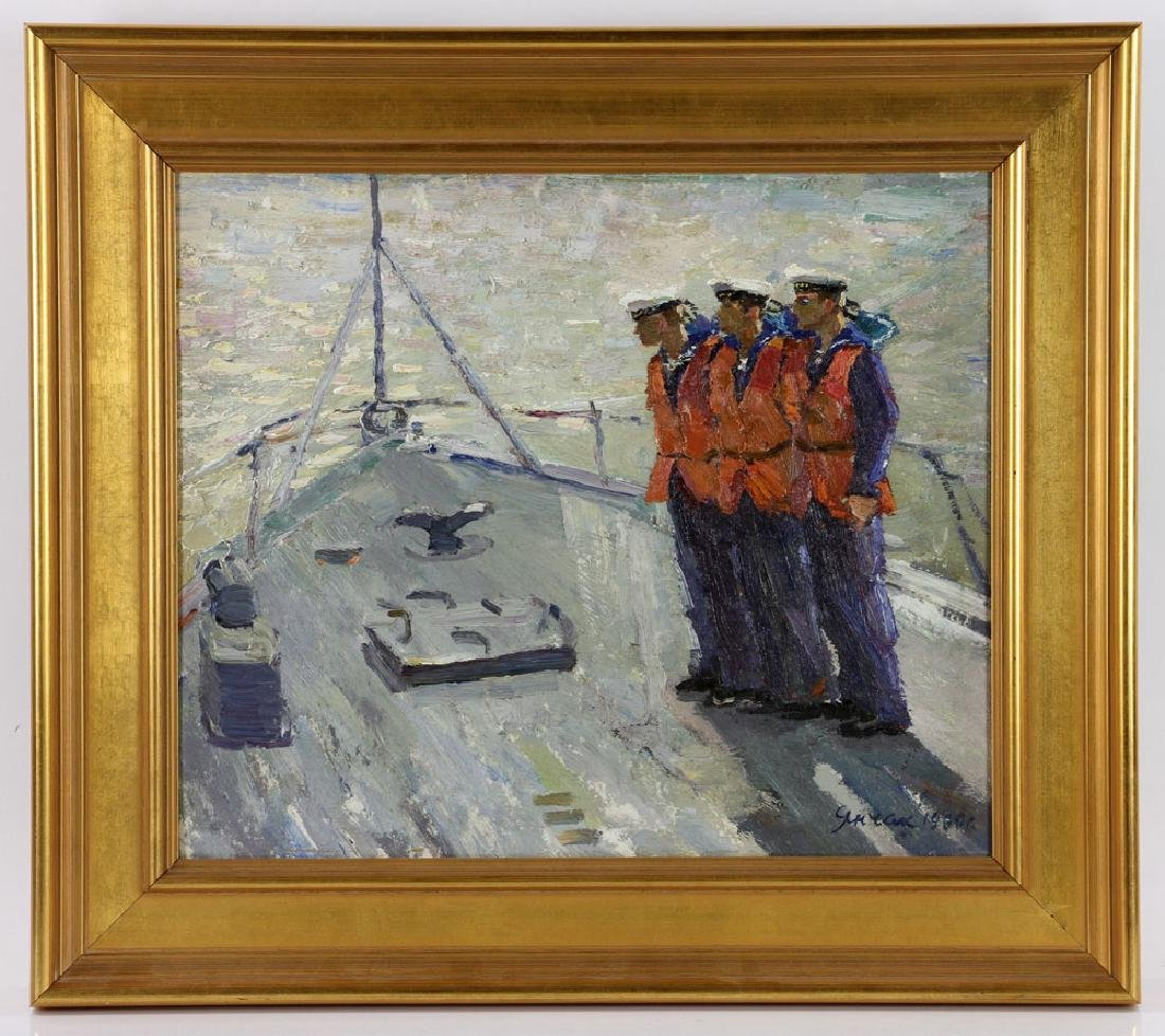 Yanchak, Three Sailors, Oil on Board