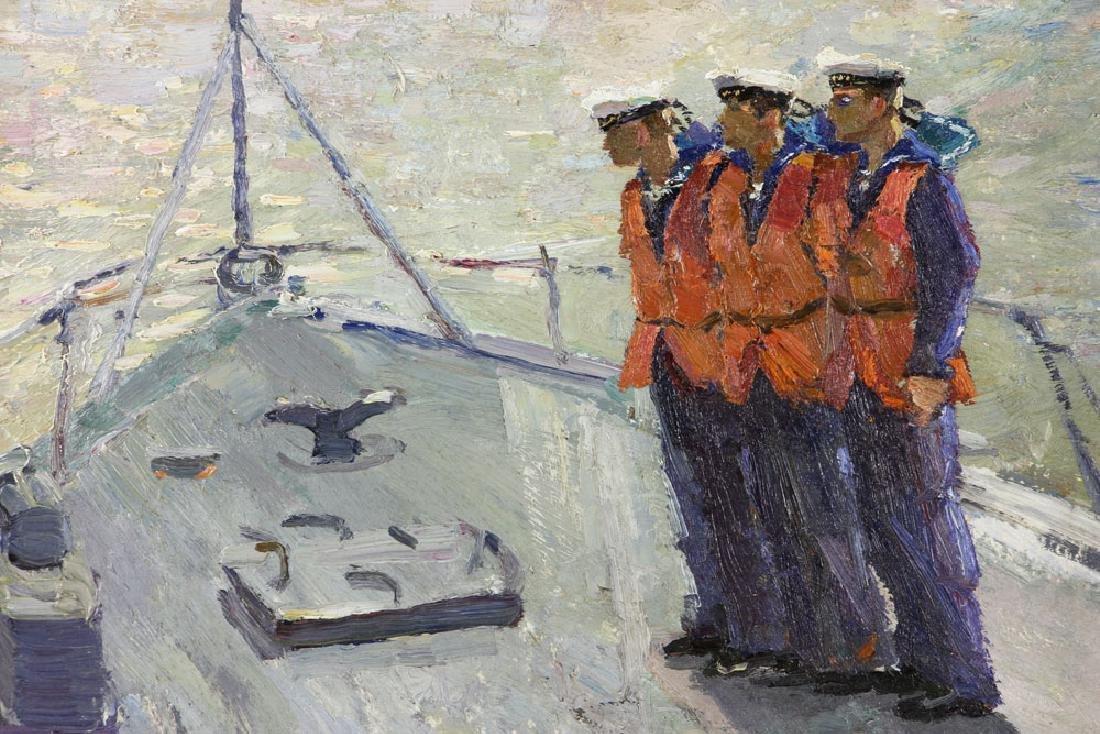 Yanchak, Three Sailors, Oil on Board - 2
