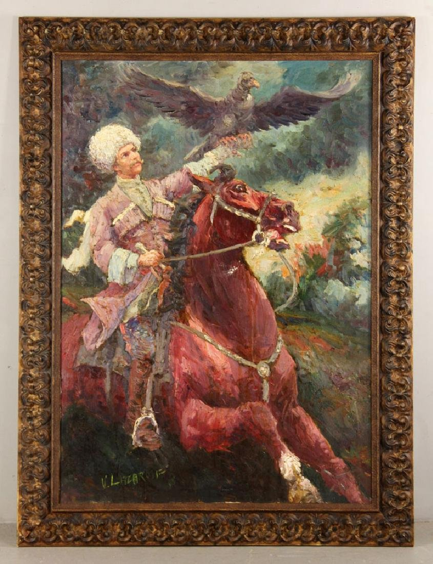 V. Lacarolf, Russian Cossack on Horseback, Oil