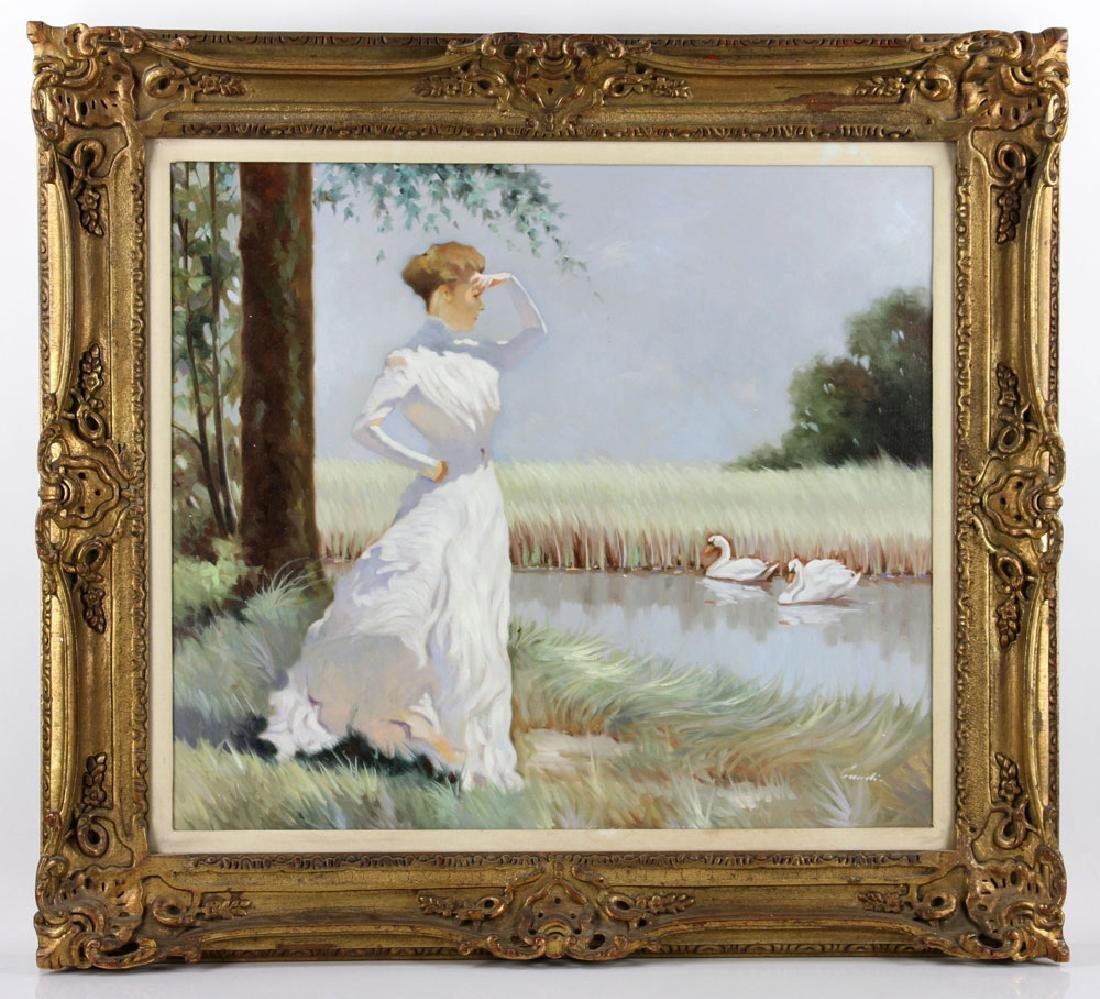 Italian School, Woman, Oil on Canvas