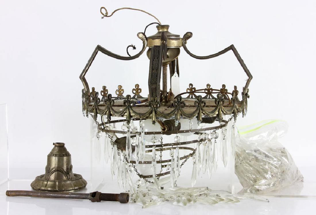 1920's Chandelier, Bronze and Crystal