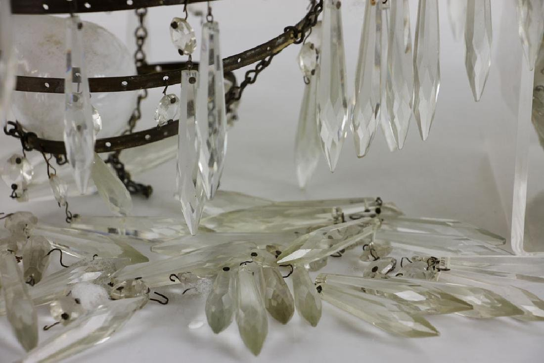 1920's Chandelier, Bronze and Crystal - 2