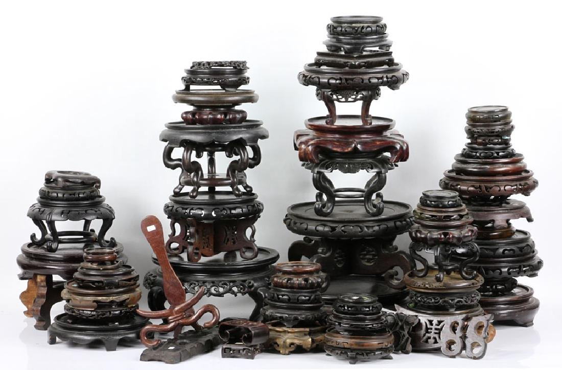 Lot of Old Chinese Carved Wood Stands