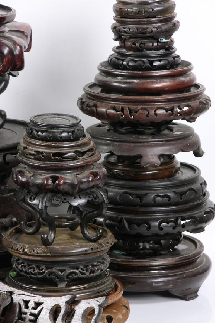 Lot of Old Chinese Carved Wood Stands - 2