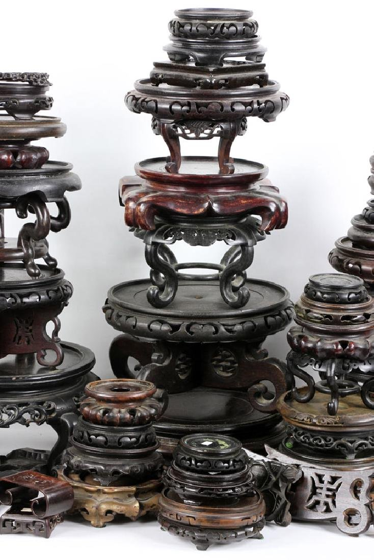 Lot of Old Chinese Carved Wood Stands - 3