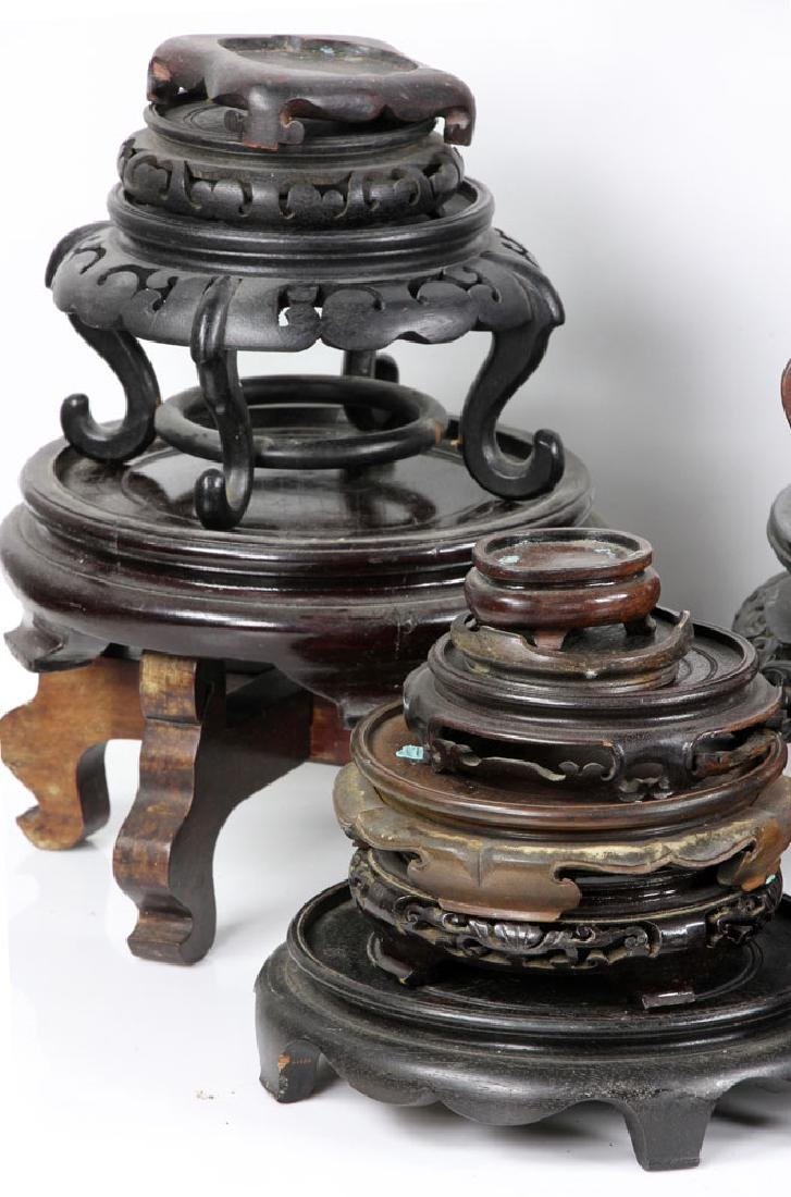 Lot of Old Chinese Carved Wood Stands - 5
