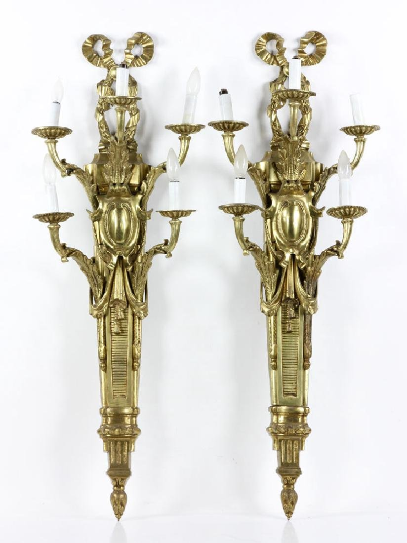 Early 20th C. French Brass Wall Sconces