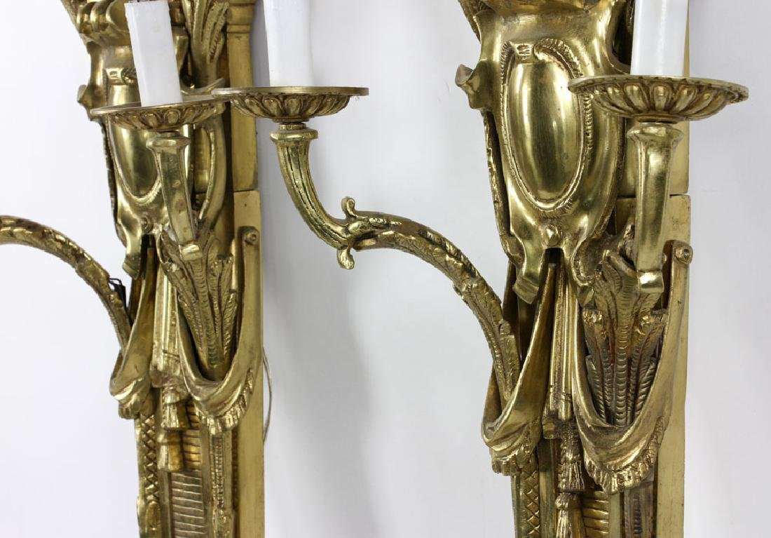 Early 20th C. French Brass Wall Sconces - 6