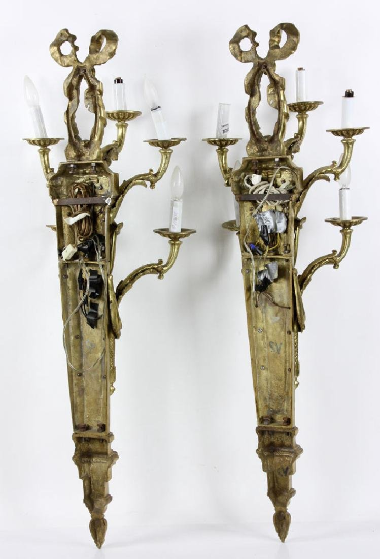 Early 20th C. French Brass Wall Sconces - 8