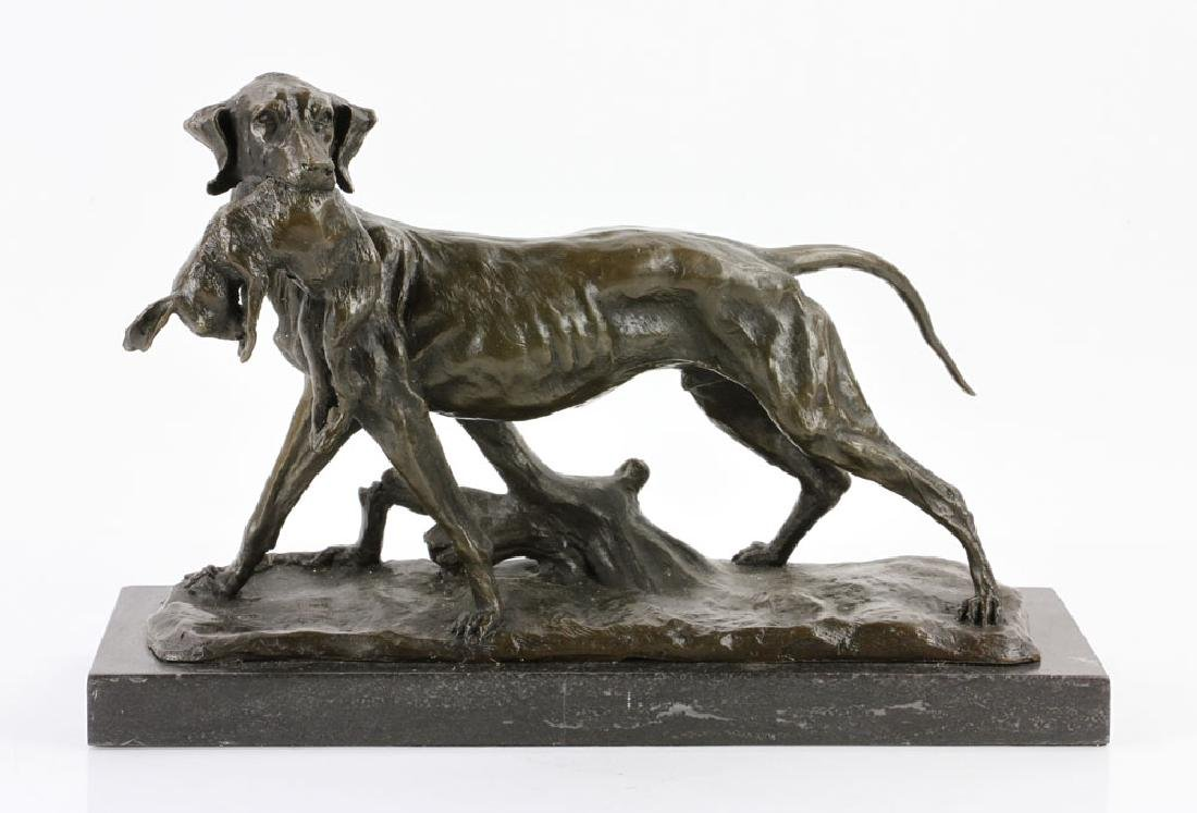 Attr. Lecourtier, Hunting Dog with Rabbit, Bronze