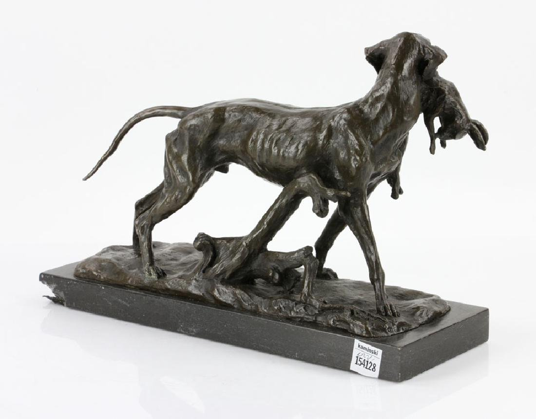 Attr. Lecourtier, Hunting Dog with Rabbit, Bronze - 5