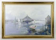 Gruppe Rockport Yacht Club Oil on Canvas